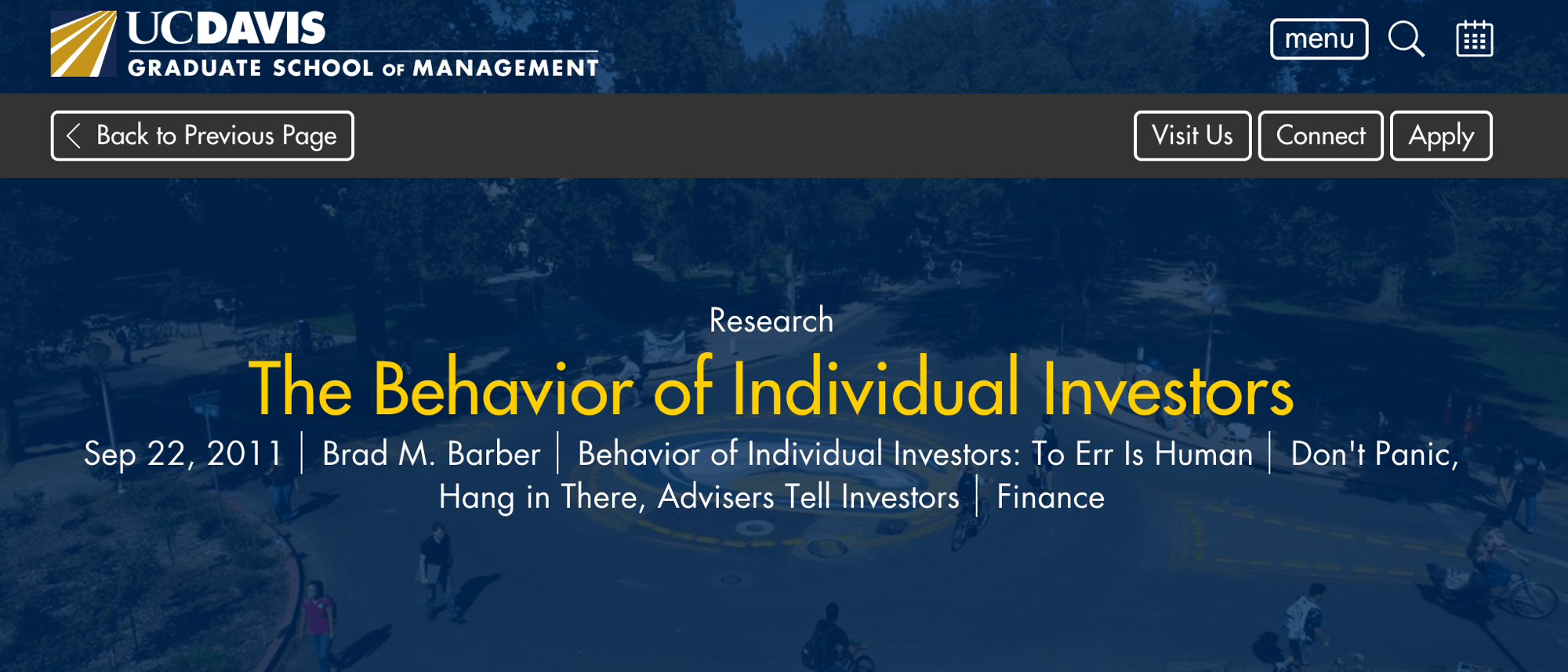 The Behavior of Individual Investors